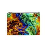 Abstract Fractal Batik Art Green Blue Brown Cosmetic Bag (Medium)  Front