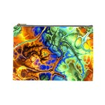 Abstract Fractal Batik Art Green Blue Brown Cosmetic Bag (Large)  Front