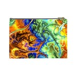 Abstract Fractal Batik Art Green Blue Brown Cosmetic Bag (Large)  Back