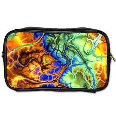 Abstract Fractal Batik Art Green Blue Brown Toiletries Bags