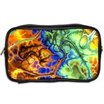 Abstract Fractal Batik Art Green Blue Brown Toiletries Bags 2-Side Back