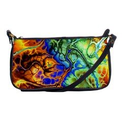 Abstract Fractal Batik Art Green Blue Brown Shoulder Clutch Bags