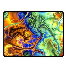Abstract Fractal Batik Art Green Blue Brown Fleece Blanket (Small)
