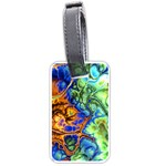 Abstract Fractal Batik Art Green Blue Brown Luggage Tags (One Side)  Front