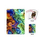 Abstract Fractal Batik Art Green Blue Brown Playing Cards (Mini)  Back