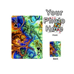 Abstract Fractal Batik Art Green Blue Brown Playing Cards 54 (Mini)