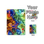Abstract Fractal Batik Art Green Blue Brown Playing Cards 54 (Mini)  Front - Heart9