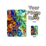 Abstract Fractal Batik Art Green Blue Brown Playing Cards 54 (Mini)  Front - Diamond10