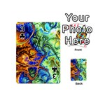 Abstract Fractal Batik Art Green Blue Brown Playing Cards 54 (Mini)  Front - Club3