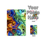 Abstract Fractal Batik Art Green Blue Brown Playing Cards 54 (Mini)  Front - Spade10