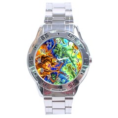 Abstract Fractal Batik Art Green Blue Brown Stainless Steel Analogue Watch