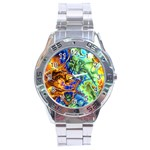 Abstract Fractal Batik Art Green Blue Brown Stainless Steel Analogue Watch Front