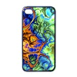 Abstract Fractal Batik Art Green Blue Brown Apple iPhone 4 Case (Black) Front