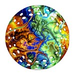 Abstract Fractal Batik Art Green Blue Brown Round Filigree Ornament (2Side) Back