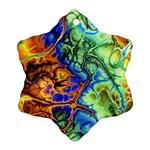 Abstract Fractal Batik Art Green Blue Brown Snowflake Ornament (2-Side) Front