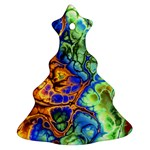 Abstract Fractal Batik Art Green Blue Brown Christmas Tree Ornament (2 Sides) Front