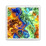 Abstract Fractal Batik Art Green Blue Brown Memory Card Reader (Square)  Front