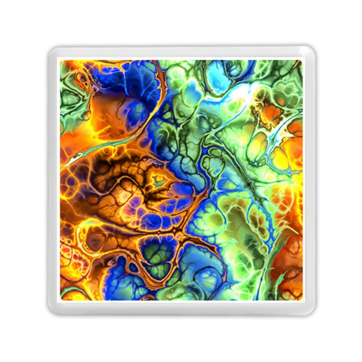 Abstract Fractal Batik Art Green Blue Brown Memory Card Reader (Square)
