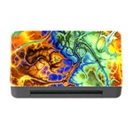Abstract Fractal Batik Art Green Blue Brown Memory Card Reader with CF Front