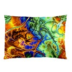 Abstract Fractal Batik Art Green Blue Brown Pillow Case (Two Sides) Back