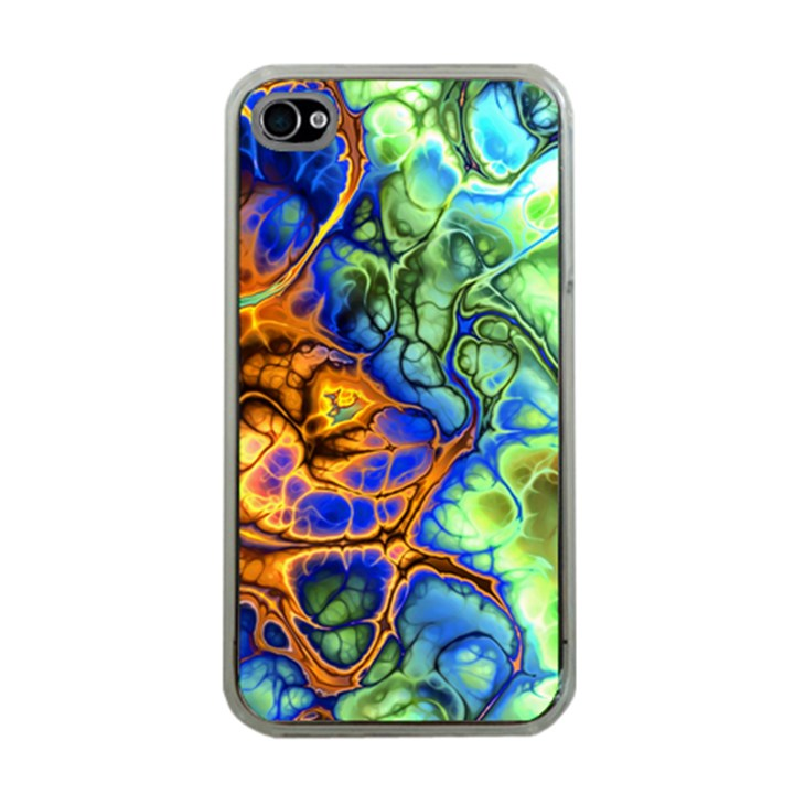Abstract Fractal Batik Art Green Blue Brown Apple iPhone 4 Case (Clear)