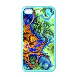Abstract Fractal Batik Art Green Blue Brown Apple iPhone 4 Case (Color) Front
