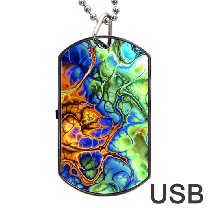 Abstract Fractal Batik Art Green Blue Brown Dog Tag USB Flash (Two Sides)