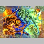 Abstract Fractal Batik Art Green Blue Brown Deluxe Canvas 18  x 12   18  x 12  x 1.5  Stretched Canvas