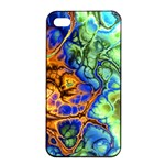 Abstract Fractal Batik Art Green Blue Brown Apple iPhone 4/4s Seamless Case (Black) Front