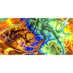 Abstract Fractal Batik Art Green Blue Brown Best Friends 3D Greeting Card (8x4) Front