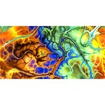 Abstract Fractal Batik Art Green Blue Brown Twin Hearts 3D Greeting Card (8x4) Back