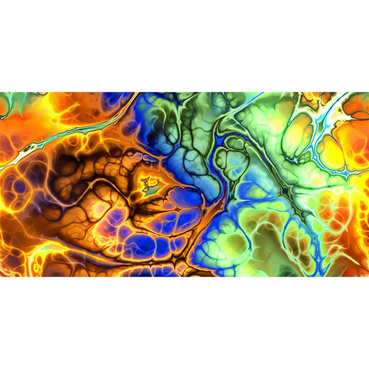 Abstract Fractal Batik Art Green Blue Brown YOU ARE INVITED 3D Greeting Card (8x4)