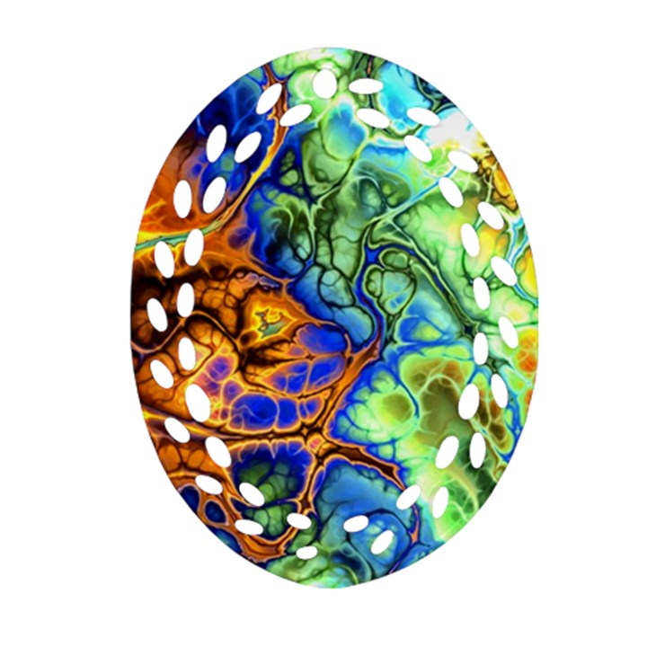 Abstract Fractal Batik Art Green Blue Brown Oval Filigree Ornament (2-Side)