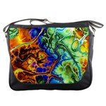 Abstract Fractal Batik Art Green Blue Brown Messenger Bags Front