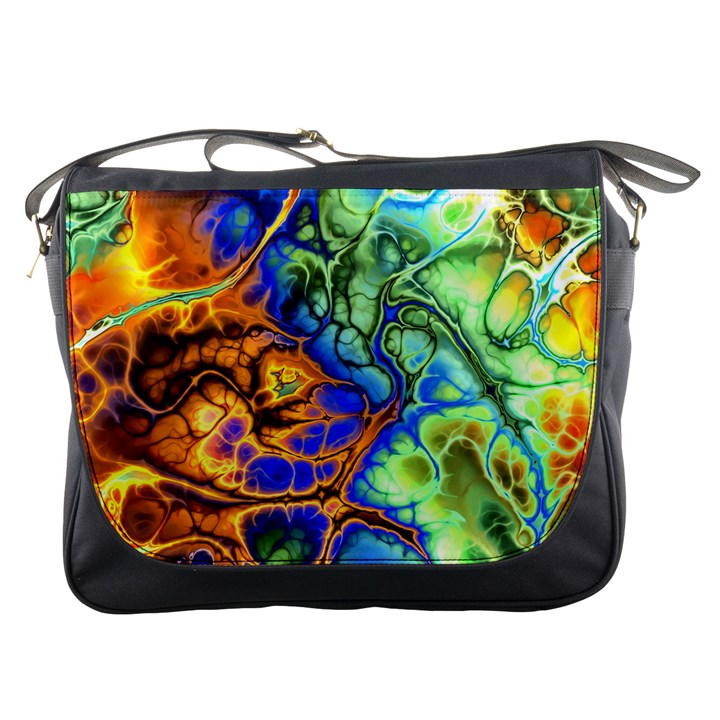 Abstract Fractal Batik Art Green Blue Brown Messenger Bags