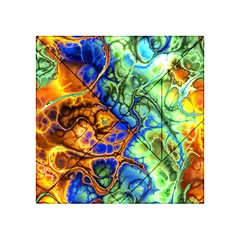 Abstract Fractal Batik Art Green Blue Brown Acrylic Tangram Puzzle (4  X 4 )