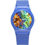 Abstract Fractal Batik Art Green Blue Brown Round Plastic Sport Watch (S) Front