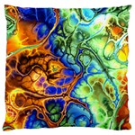 Abstract Fractal Batik Art Green Blue Brown Large Cushion Case (One Side) Front