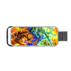 Abstract Fractal Batik Art Green Blue Brown Portable USB Flash (One Side)