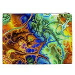 Abstract Fractal Batik Art Green Blue Brown Cosmetic Bag (XXL)  Back