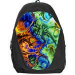 Abstract Fractal Batik Art Green Blue Brown Backpack Bag Front