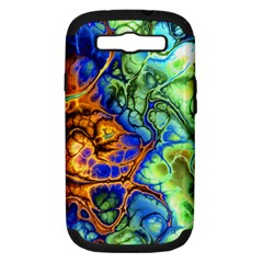 Abstract Fractal Batik Art Green Blue Brown Samsung Galaxy S III Hardshell Case (PC+Silicone)