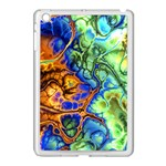 Abstract Fractal Batik Art Green Blue Brown Apple iPad Mini Case (White) Front