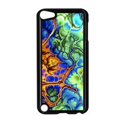 Abstract Fractal Batik Art Green Blue Brown Apple iPod Touch 5 Case (Black)