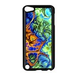 Abstract Fractal Batik Art Green Blue Brown Apple iPod Touch 5 Case (Black) Front