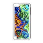 Abstract Fractal Batik Art Green Blue Brown Apple iPod Touch 5 Case (White) Front