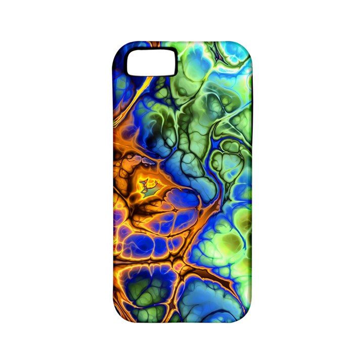 Abstract Fractal Batik Art Green Blue Brown Apple iPhone 5 Classic Hardshell Case (PC+Silicone)