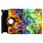 Abstract Fractal Batik Art Green Blue Brown Apple iPad 2 Flip 360 Case Front