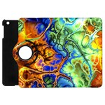 Abstract Fractal Batik Art Green Blue Brown Apple iPad Mini Flip 360 Case Front