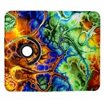Abstract Fractal Batik Art Green Blue Brown Samsung Galaxy Note II Flip 360 Case Front